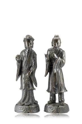 中國 十九世紀上半葉 銅雕樂師立像 一對