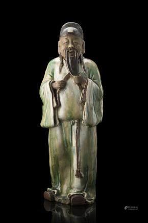 中國 二十世紀 彩繪釉炻人物雕像