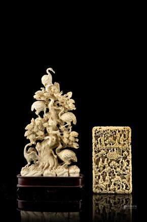 中國 十九世紀 象牙鶴樹枝雕件與象牙名片盒