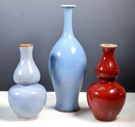 3 Chinese Porcelain Monochrome Vases