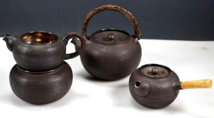Fine & Rare 4 Piece Japanese Silver Teapot Set
