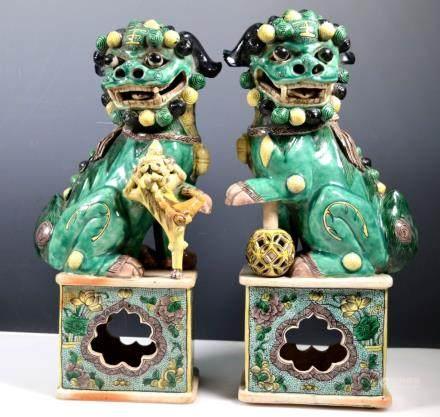 Pr Lg Chinese Famille Verte Porcelain Foo Lions