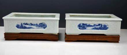 Fine Pr. Chinese Celadon & B&W Porcelain Planters