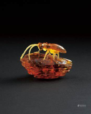 琥珀昆虫摆件