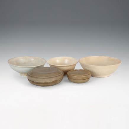 越窯香盒、白釉小盤 5件