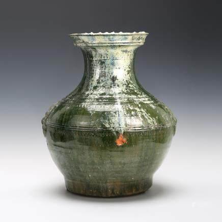 綠釉弦紋鋪首大瓶