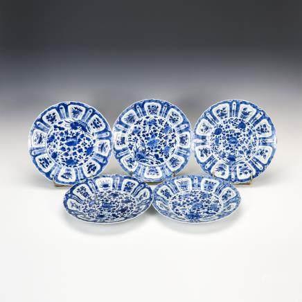 青花纏枝花紋葵口盤 5枚
