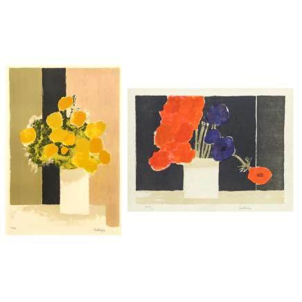 伯納德·卡特林 (1)非洲萬壽菊的花束 (2) 黑色背景上的銀蓮花 2件