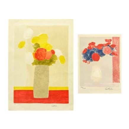 伯納德·卡特林 (1) 露芭蒂家的花束和玫瑰色的桌布 (2)銀蓮花 1 2件