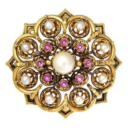 珍珠 碧璽 黃金胸針
