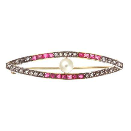 珍珠 紅寶石 鑽石 14K黃金胸針