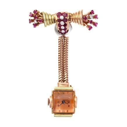 紅寶石 鑽石 14K黃金時鐘胸針