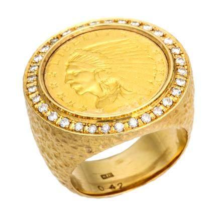 0.42 ct 鑽石 黃金戒指