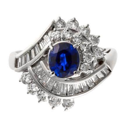 1.10 ct 藍寶石 鑽石 鉑金戒指 (非加熱)