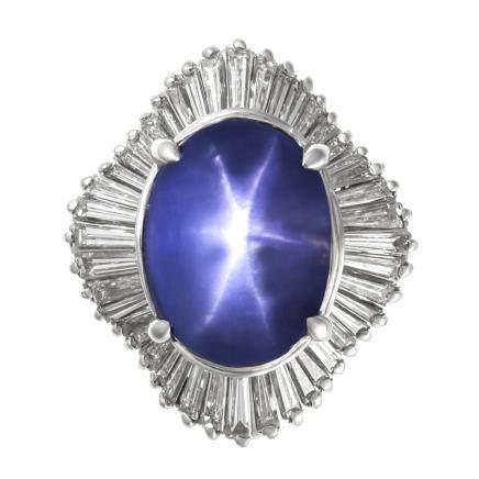 15.79 ct 藍色星光藍寶石 鑽石 鉑金戒指
