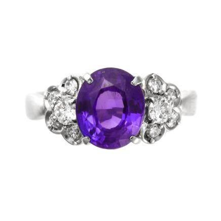 2.94 ct 變色藍寶石 鑽石 鉑金戒指 (非加熱)