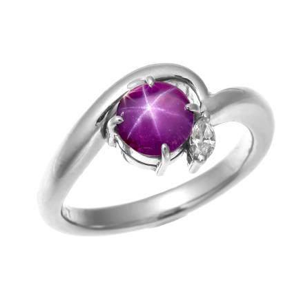 1.452 ct 星光紅寶石 鑽石 鉑金戒指 (非加熱)