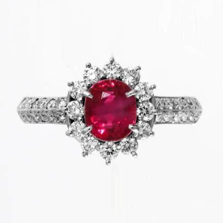 1.54 ct 緬甸產 鴿血紅紅寶石 鑽石 鉑金戒指
