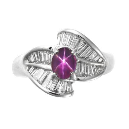 1.29 ct 斯里蘭卡產 紅紫色星光藍寶石 鑽石 鉑金戒指 (非加熱)