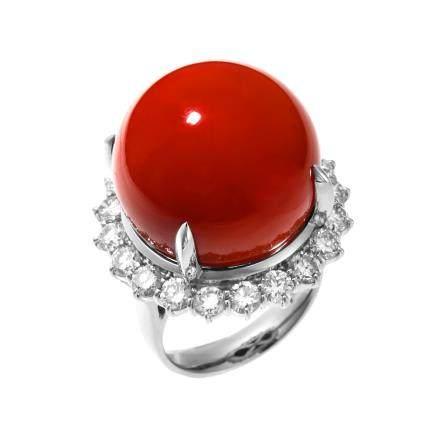 19.8 mm 紅珊瑚 鑽石 鉑金戒指