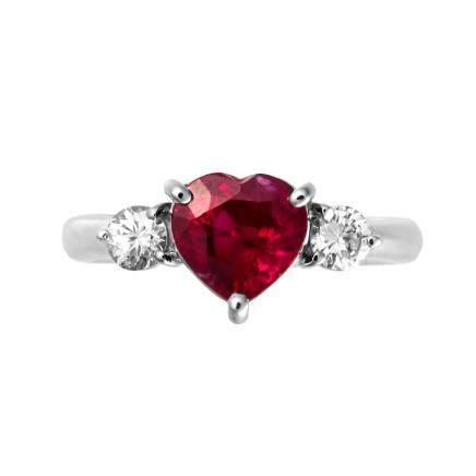 2.05 ct 緬甸產 紅寶石 鑽石 鉑金戒指