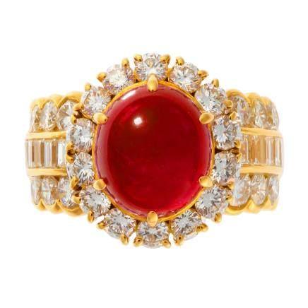 6.67 ct 緬甸產 紅寶石 鑽石 黃金戒指