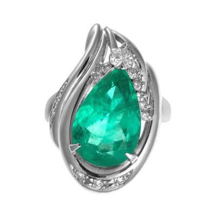 6.25 ct 哥倫比亞產 祖母綠石 鑽石 鉑金戒指
