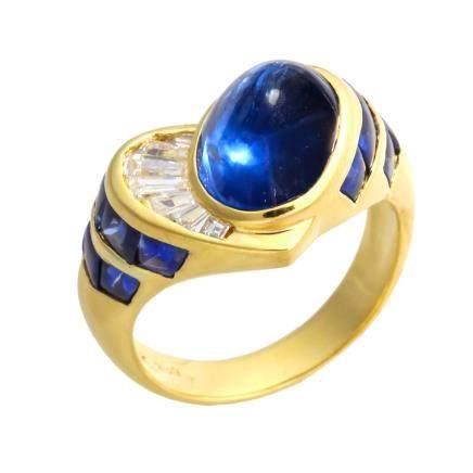 藍寶石 鑽石 黃金戒指