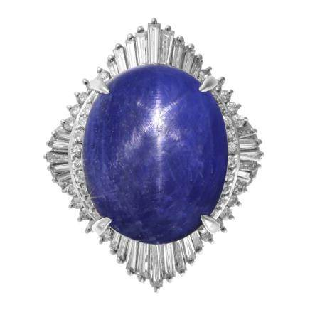 22.14 ct 藍色星光藍寶石 鑽石 鉑金戒指