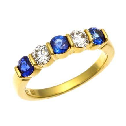 蒂芙尼 藍寶石 鑽石 黃金戒指
