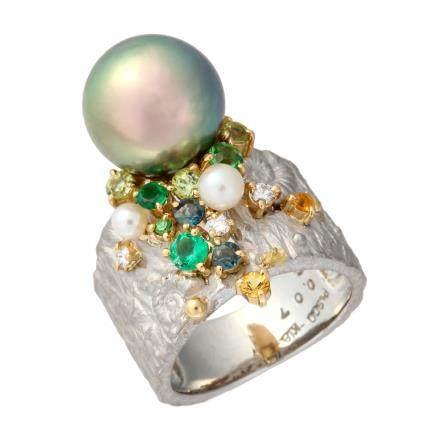 11.7 mm 珍珠 彩色寶石 鑽石 黃金 鉑金戒指