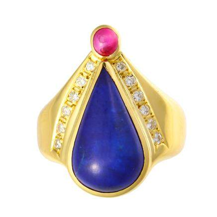 青金石 紅寶石 鑽石 黃金戒指