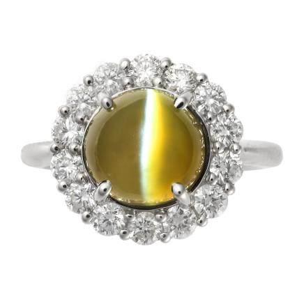 1.00 ct 金綠貓眼石 鑽石 鉑金戒指
