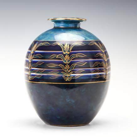 利摩日 鈷藍金彩花瓶