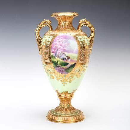 古則武瓷器 風景紋花瓶