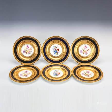 巴伐利亞 鈷藍金彩花紋繪碟 6件