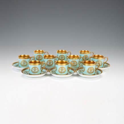 巴伐利亞 金彩小咖啡杯&托碟 20件