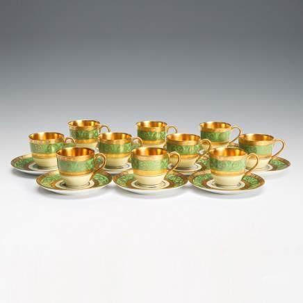 獅牌名瓷 金彩花紋杯&托碟 20件