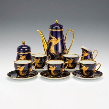 獅牌名瓷 鈷藍金彩鳳凰紋咖啡具 13件