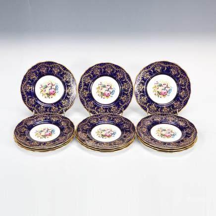英國皇家庫爾頓 鈷藍金彩花紋碟 12件