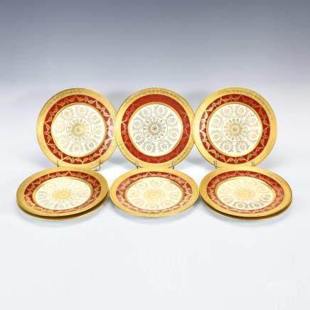 獅牌名瓷 花飾紋金彩繪碟 8件