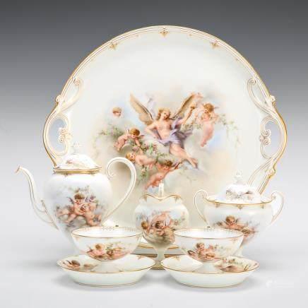 水晶梯廊 洛可可樣式 天使紋茶具 8件