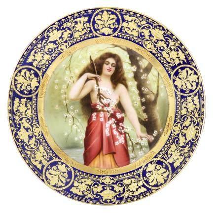 維也納風格 肖像畫玲瓏装飾繪碟