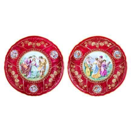 巴伐利亞 神話紋裝飾繪碟 (一對)