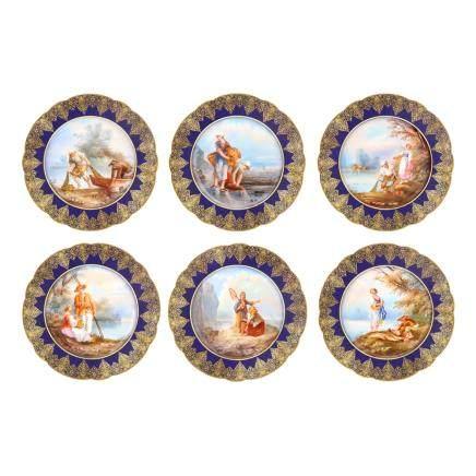 利摩日 人物紋裝飾繪碟 6件