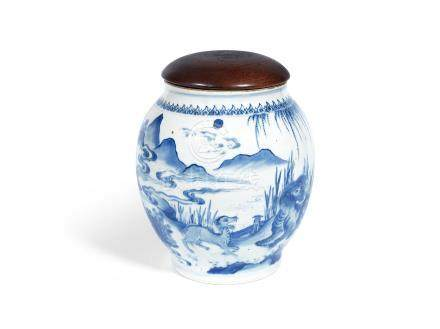 A blue and white blue ovoid jar