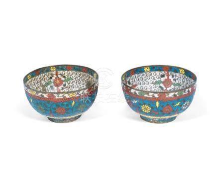 A small pair of cloisonné enamel bowls