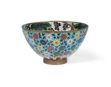 A large cloisonné enamel 'grapevines and mandarin ducks' bowl