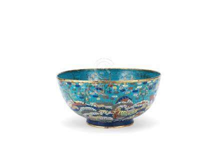 A large cloisonné enamel 'hundred deer' bowl
