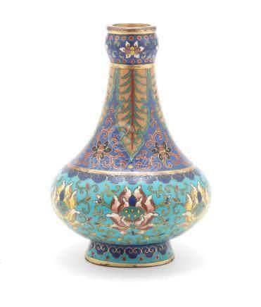 An unusual cloisonné enamel bottle vase